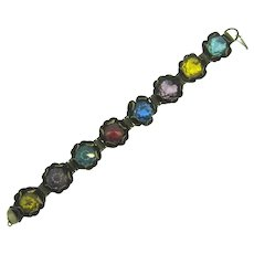 Vintage floral link Bracelet with multicolored faceted glass stones