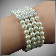 Vintage four strand white imitation pearl stretch Bracelet with crystal rhinestones