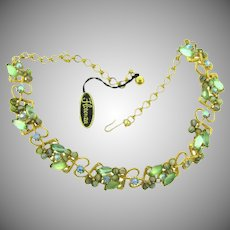 Signed Florenza choker rhinestone Necklace in green tones and original hang tag