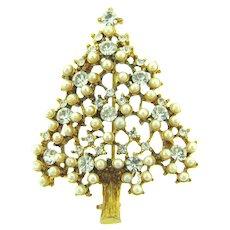 Signed Eisenberg Ice Christmas tree Brooch with crystal rhinestones and imitation pearls