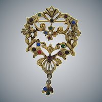 Vintage open multicolored rhinestone floral Brooch