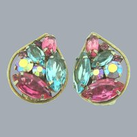 Signed Weiss clip back Earrings with pink and blue rhinestones