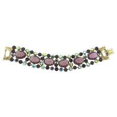 Vintage 1960's gorgeous purple rhinestone Bracelet