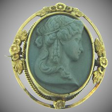 Vintage high relief lava Cameo Brooch with gold filled frame