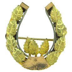 Vintage early lucky horseshoe Brooch with leaves