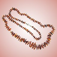 Vintage amber chip Necklace in graduating sizes