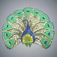 Vintage sterling silver figural enamel figural peacock Brooch