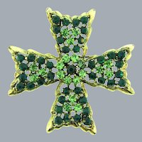 Signed Weiss Maltese cross Brooch with green rhinestones