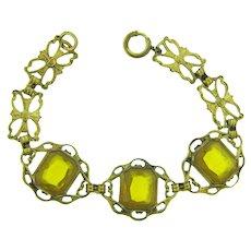 Vintage gold tone link Bracelet with citrine glass stones