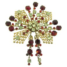 Signed Sterling by French vintage large Brooch with red and crystal rhinestones