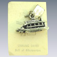 Vintage NOS Bell Trading Company sterling silver travel charm from Cedar Point, Ohio of a steamboat