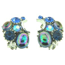 Signed Lisner clip back Earrings with blue rhinestones and iridescent blue cabochons