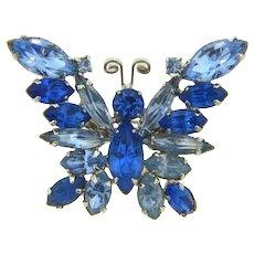 Vintage figural butterfly Brooch with shades of blue rhinestones