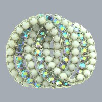 Vintage circular Brooch with opaque white beads and AB rhinestones
