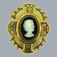 Vintage Victorian Revival style Brooch with glass cameo