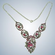 Vintage pot metal floral Necklace with pink rhinestones