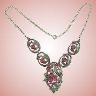 Vintage pot metal floral Necklace with pink rhinestones