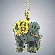 Vintage hematite figural Elephant pendant with crystal rhinestone
