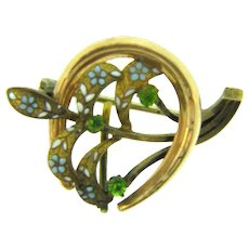 Vintage Watch Pin with horseshoe and floral design, green rhinestones and enamel