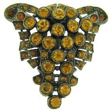 Vintage Dress Clip with amber rhinestones