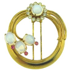 Signed Coro Fur Clip with opaque cabochons and crystal and pink rhinestones