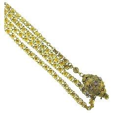Vintage filigree pendant Necklace with lavender rhinestones