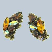 Vintage 1960's rhinestones clip back Earrings in fall shades