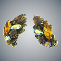 Vintage 1960's rhinestones clip back Earrings in fall shades