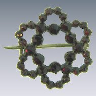 Small Victorian Bohemian garnet star open Scatter Pin