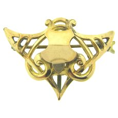 Vintage early gold filled Watch Pin shield shaped