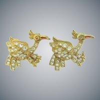 Vintage pair of bird Scatter Pins with crystal rhinestones
