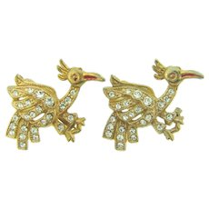 Vintage pair of bird Scatter Pins with crystal rhinestones