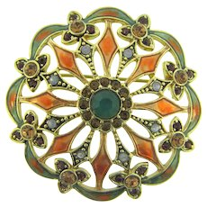 Signed Monet Brooch with enamel and rhinestones