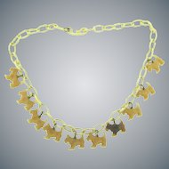 Vintage early celluloid link choker Necklace with scottie dog charms