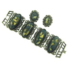 Vintage chunky link Bracelet and clip back Earrings with shell and glitter Lucite inserts