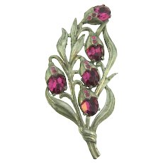 Vintage large pot metal floral Brooch with fuchsia colored rhinestones