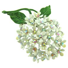 Vintage large raised floral Brooch with AB rhinestones and enamel flowers and leaves