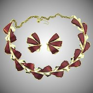 Signed ART vintage choker Necklace and clip back Earrings with mauve thermoset tiles