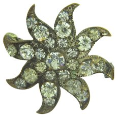 Vintage early pinwheel Scatter Pin with crystal paste stones