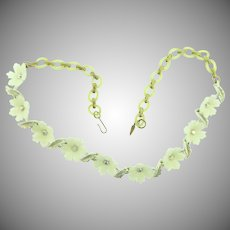 Vintage early plastic choker Necklace with white plastic flowers, AB rhinestones and celluloid links