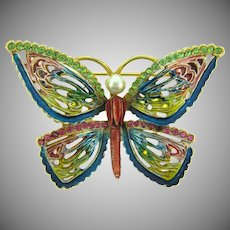 Vintage colorful figural butterfly Brooch with enamel, rhinestones and imitation pearl