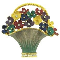 Vintage figural flower basket brooch with enamel and rhinestones