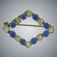 Small early Scatter Pin with crystal and blue paste stones