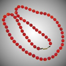 Vintage red faceted glass bead Necklace with crystal spacer beads