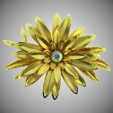 Vintage large floral gold tone Brooch with AB rhinestone