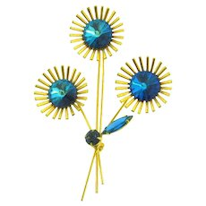 Vintage 1960's floral Brooch with blue rivoli rhinestones