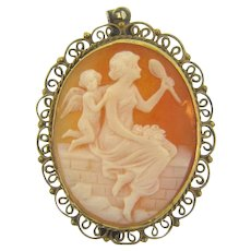 Antique shell Cameo Pendant/Brooch in early marked 800 silver frame