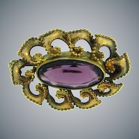Vintage small gold filled Scatter Pin with deep purple glass stone