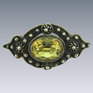 Small early Etruscan design Scatter Pin with citrine stone