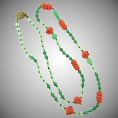 Vintage long bead Necklace with coral art glass beads, opaque green beads, peking glass beads